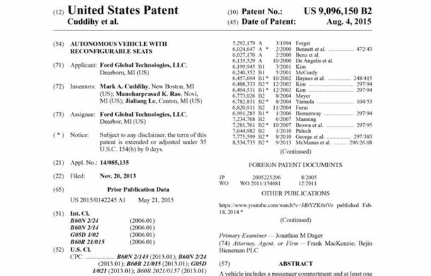 Ford a patentat o mașină autonomă care transformă interiorul în birou mobil în timpul mersului - Poza 5