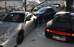 Buturuga mică avariază showroom-ul mare: un Opel Astra a distrus un showroom Porsche