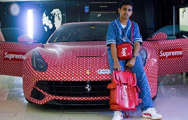 """Tu ce cadou primeai la 15 ani? Un puști din Dubai a primit un Ferrari F12 Berlinetta, pe care l-a """"îmbrăcat"""" în logo-ul Louis Vuitton - Poza 1"""