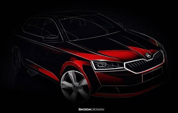 Prima schiță oficială cu Skoda Fabia facelift: noul model va debuta în luna martie - Poza 1
