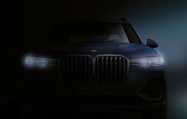 Primul teaser pentru BMW X7: imaginea dezvăluie forma grilei frontale și a blocurilor optice - Poza 1