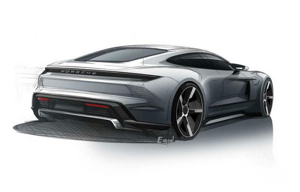 Primele schițe cu viitorul Porsche Taycan: modelul electric debutează în luna septembrie - Poza 2