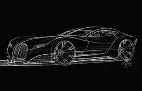 Prima schiţă a viitorului Morgan Eva GT, un coupe retro cu patru locuri