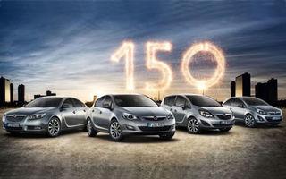 """Opel Astra, Corsa, Meriva şi Insignia primesc o ediţie specială """"150 de ani"""""""