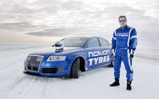 Nokian a doborât recordul de viteză pe gheaţă atingând 336 km/oră cu un Audi RS6