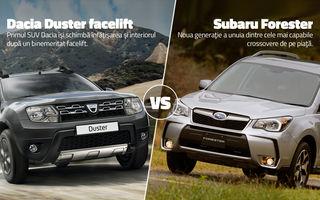 Duelurile zilei în AUTOVOT 2014: Dacia Duster facelift vs. Subaru Forester şi Mercedes GLA vs. Lexus IS