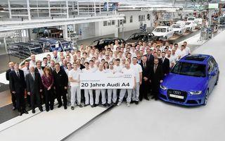 Audi aniversează 20 de ani de la lansarea lui A4 şi confirmă lansarea următoarei generaţii pentru 2015