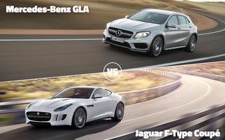Jaguar F-Type Coupe şi Mercedes GLA se luptă azi în Autovot 2015