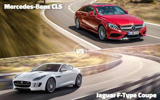 Finala mică a început: Mercedes CLS vs. Jaguar F-Type şi Volkswagen Touareg contra Golf Sportsvan