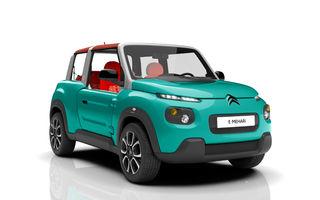 Cabrioletul electric Citroen E-Mehari nu are airbag-uri nici măcar opțional, dar costă 25.000 de euro în Franța