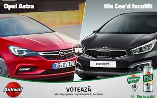 Luptă compactă astăzi în Autovot 2016: Kia Cee'd facelift versus noul Opel Astra