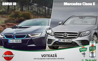 Duel de zile mari astăzi în Autovot 2016: BMW i8 vs. Mercedes Clasa E