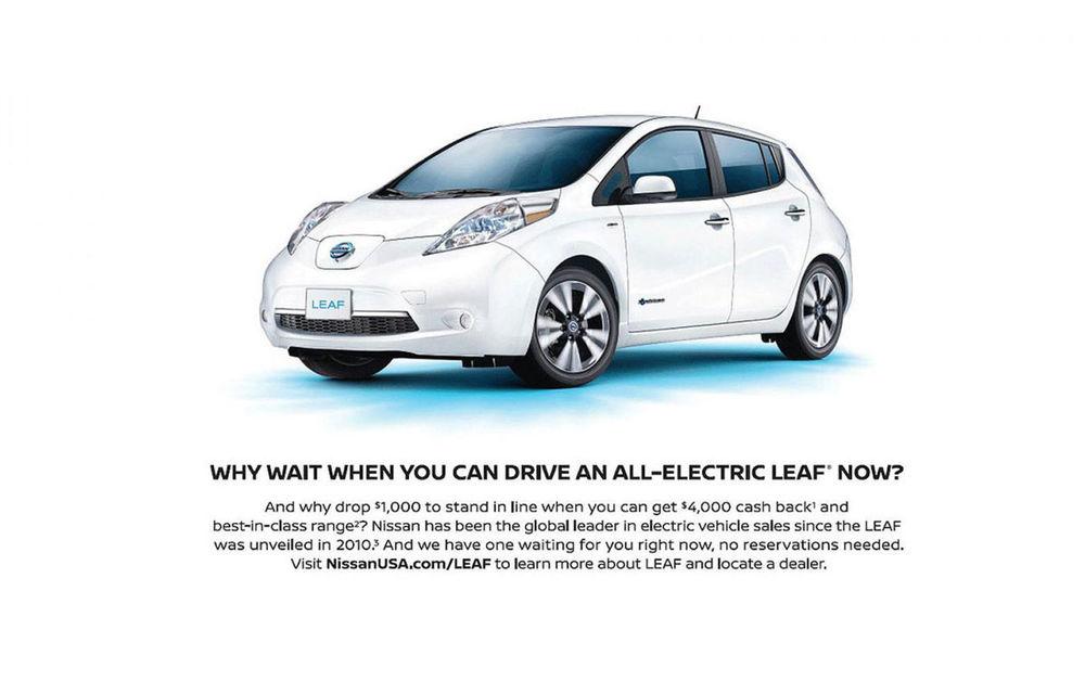 """Nissan ironizează noul Tesla Model 3: """"De ce să plătești 1000 de dolari ca să stai la coadă, când poți avea acum o mașină electrică?"""" - Poza 1"""