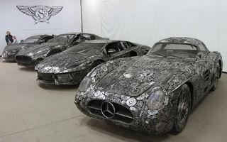 Programul Rabla naște opere de artă: Bugatti Veyron, Lamborghini Aventador și Mercedes 300 SL, reproduse din fier vechi