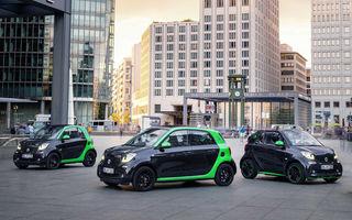 Noutăţi pentru versiunile electrice Smart Fortwo şi Smart Forfour: motor de 81 CP, autonomie de 160 km şi încărcare mai rapidă