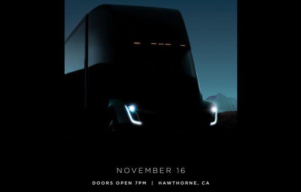 O nouă imagine teaser cu viitorul cap-tractor Tesla: prezentarea oficială are loc în 16 noiembrie - Poza 1