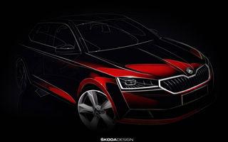Prima schiță oficială cu Skoda Fabia facelift: noul model va debuta în luna martie