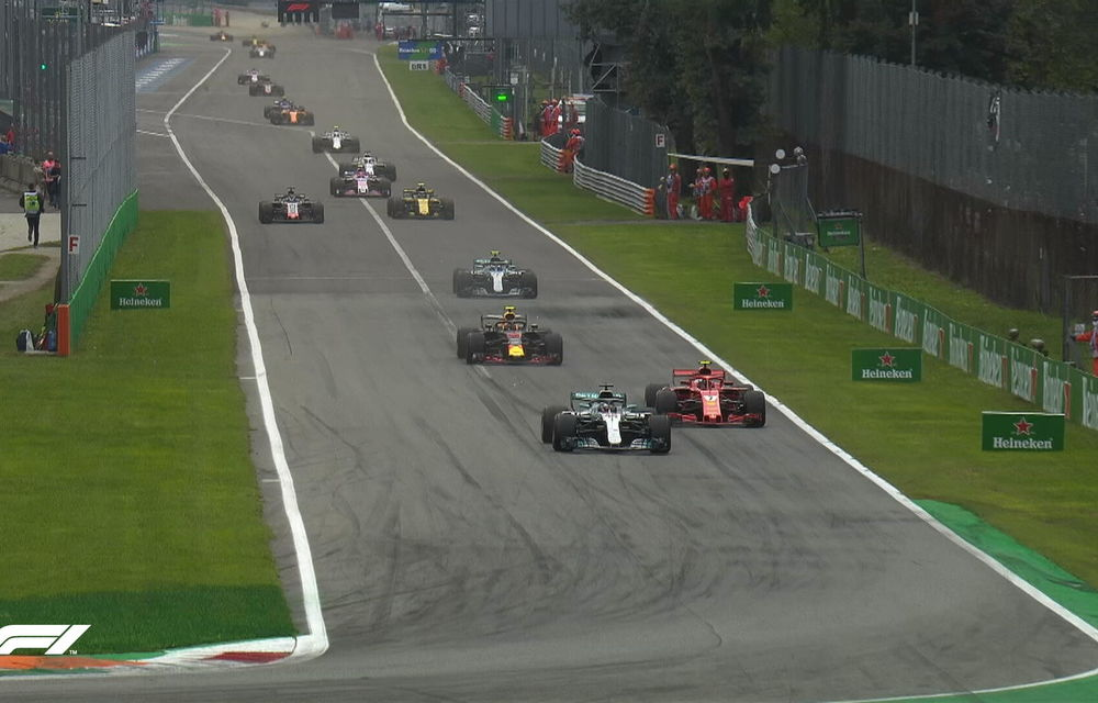 Hamilton a câștigat cursa de la Monza după un acroșaj la start cu Vettel și o depășire asupra lui Raikkonen. Bottas a completat podiumul - Poza 3