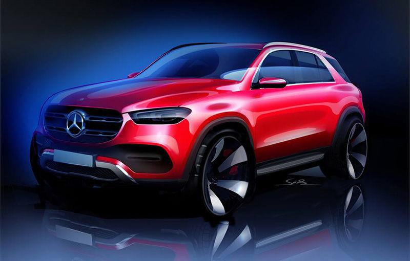 Prima schiță cu exteriorul noii generații Mercedes-Benz GLE: SUV-ul debutează în cadrul Salonului Auto de la Paris - Poza 1