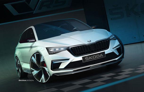 Imagini teaser cu viitorul Skoda Vision RS Concept: sistem hibrid de propulsie cu 245 CP și autonomie de 70 de kilometri în modul electric - Poza 1