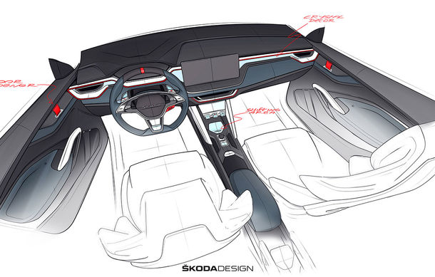 Imagini teaser cu viitorul Skoda Vision RS Concept: sistem hibrid de propulsie cu 245 CP și autonomie de 70 de kilometri în modul electric - Poza 3