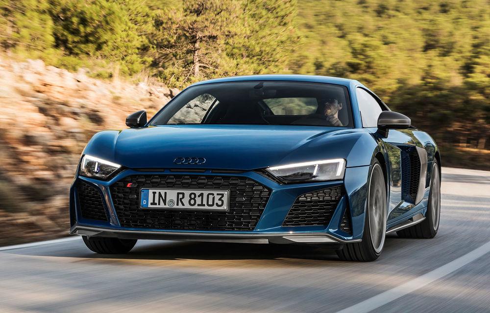 Audi R8 facelift, poze și detalii oficiale: modificări estetice minore, îmbunătățiri la nivelul suspensiei și motoare mai puternice - Poza 1