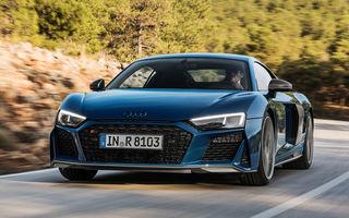Audi R8 facelift, poze și detalii oficiale: modificări estetice minore, îmbunătățiri la nivelul suspensiei și motoare mai puternice