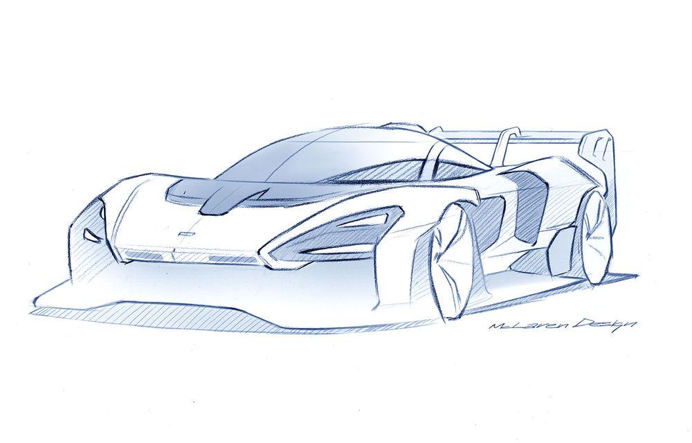 Prima schiță oficială cu versiunea de serie a lui McLaren Senna GTR: modelul destinat circuitului promite 825 CP - Poza 1