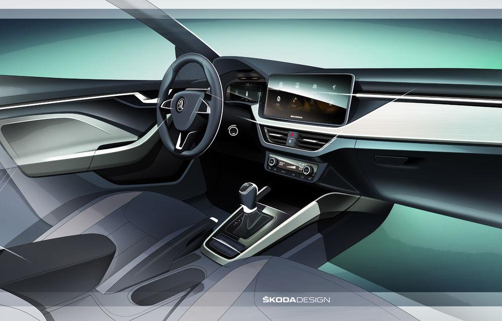 Prima schiță cu interiorul lui Skoda Scala: hatchback-ul împrumută designul conceptului Vision RS - Poza 1