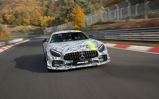 Teaser video cu viitorul Mercedes-AMG GT R Pro: supercarul german a fost filmat pe Nurburgring în timpul unui tur cronometrat