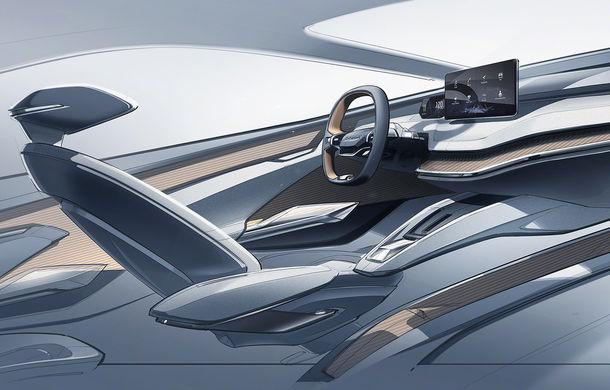 Prima schiță cu interiorul noului Skoda Vision iV: conceptul electric va fi prezentat în 5 martie - Poza 1