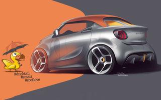 Prima schiță cu viitorul Smart Forease+ Concept: prototipul cu plafon soft top debutează în 5 martie