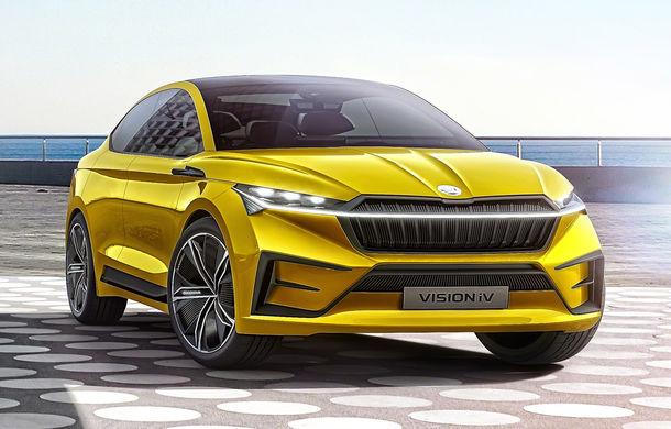 Skoda Vision iV: conceptul de 306 cai putere și autonomie de 500 de kilometri anticipează lansarea unui SUV coupe electric - Poza 1