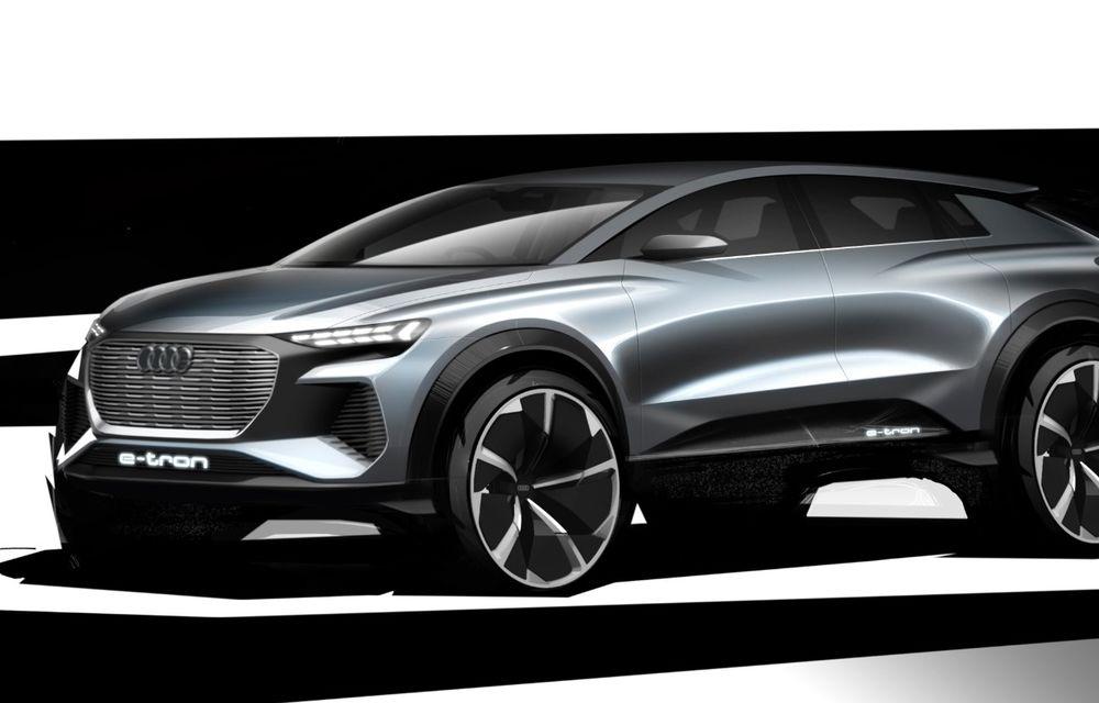 Audi prezintă conceptul Q4 e-tron: SUV-ul electric are tracțiune integrală, peste 300 CP și autonomie de 450 km: versiune de serie la sfârșit de 2020 - Poza 4
