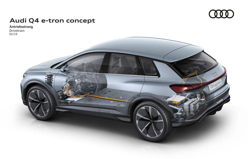 Audi prezintă conceptul Q4 e-tron: SUV-ul electric are tracțiune integrală, peste 300 CP și autonomie de 450 km: versiune de serie la sfârșit de 2020 - Poza 6