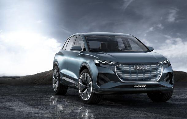 Audi prezintă conceptul Q4 e-tron: SUV-ul electric are tracțiune integrală, peste 300 CP și autonomie de 450 km: versiune de serie la sfârșit de 2020 - Poza 1