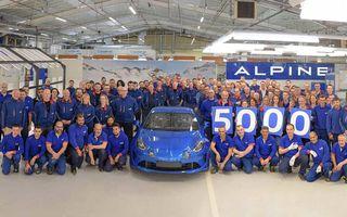 Sărbătoare la Alpine: coupe-ul A110 a atins 5000 de exemplare produse în versiunea sa modernă