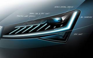 Un nou teaser cu Skoda Superb facelift: vârful de gamă al cehilor va fi echipat cu faruri cu tehnologie LED Matrix
