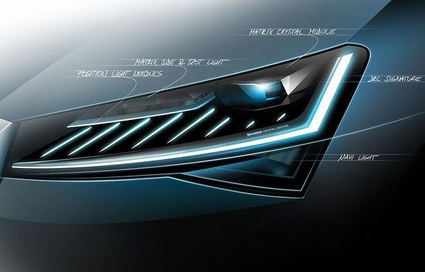 Un nou teaser cu Skoda Superb facelift: vârful de gamă al cehilor va fi echipat cu faruri cu tehnologie LED Matrix - Poza 1