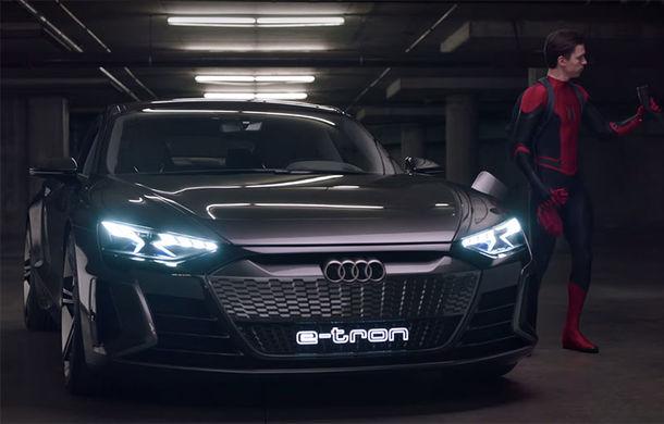 Audi e-tron GT își continuă cariera la Hollywood: conceptul electric apare într-un clip de promovare dedicat peliculei Spider-Man: Far From Home - Poza 1