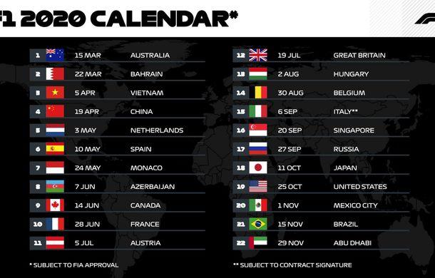 Calendarul Formulei 1 pentru 2020: număr record de 22 de curse. Vietnam și Olanda sunt singurele noutăți, Germania este eliminată - Poza 2