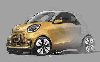 Primele schițe oficiale cu viitoarele Smart EQ Fortwo și EQ Forfour facelift: cele două modele electrice debutează la Frankfurt