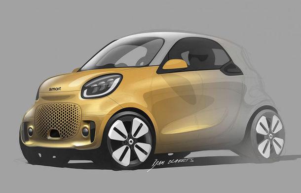 Primele schițe oficiale cu viitoarele Smart EQ Fortwo și EQ Forfour facelift: cele două modele electrice debutează la Frankfurt - Poza 1