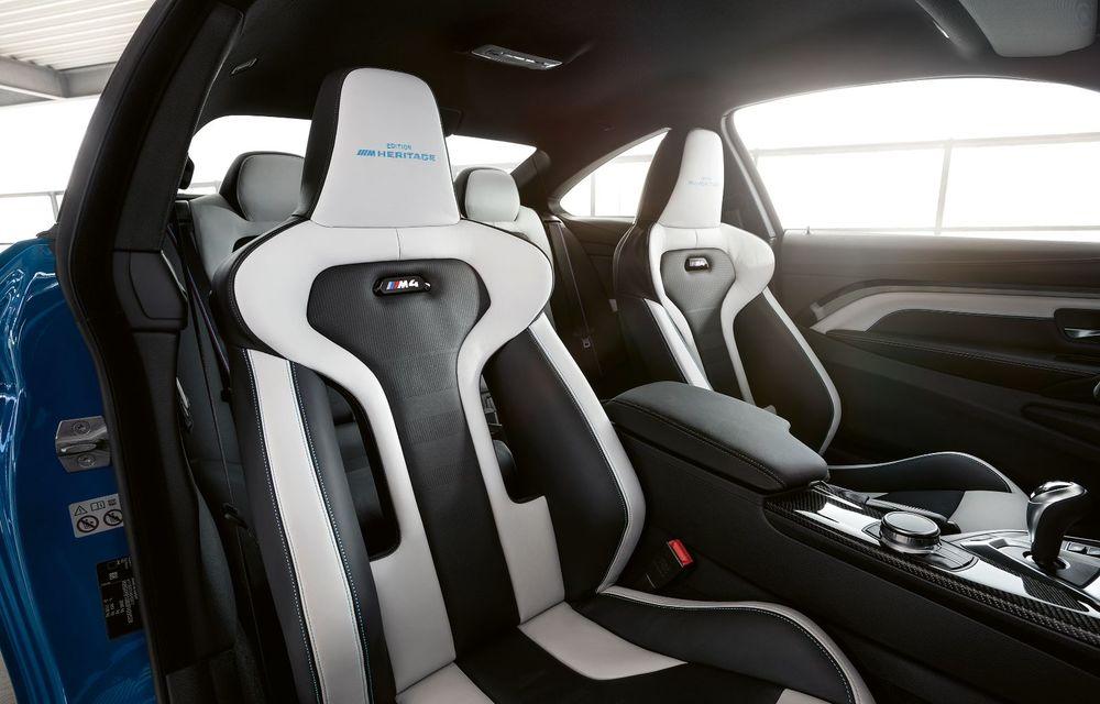 Ediție limitată pentru actualul BMW M4 Coupe: versiunea M Heritage propune culori speciale pentru caroserie, accesorii noi de interior și motorizare cu 450 CP - Poza 13
