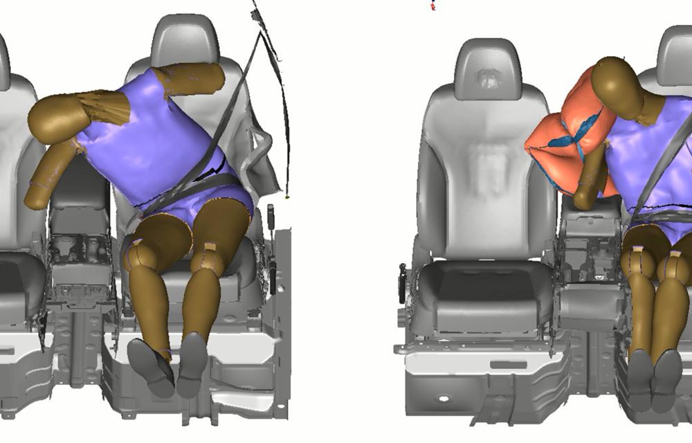 Hyundai a dezvoltat un nou airbag pentru spațiul dintre șofer și pasagerul din dreapta: airbag-ul va fi disponibil pe viitoarele modele din grup - Poza 4
