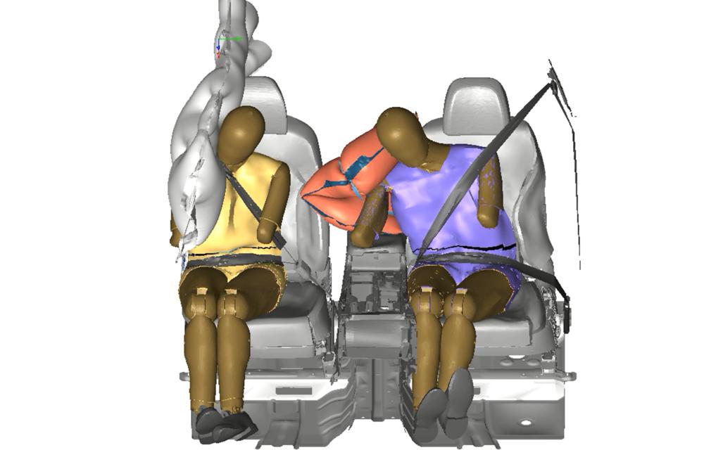 Hyundai a dezvoltat un nou airbag pentru spațiul dintre șofer și pasagerul din dreapta: airbag-ul va fi disponibil pe viitoarele modele din grup - Poza 3
