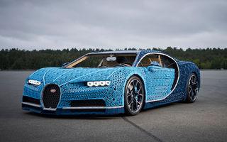 Singurul Bugatti Chiron în mărime naturală fabricat din piese Lego va putea fi admirat și în România începând cu 26 septembrie: modelul integrează peste un milion de piese Lego