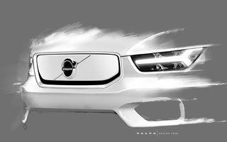 """Noi informații despre viitorul Volvo XC40 electric: grilă """"plină"""" și spațiu suplimentar de bagaje sub capotă"""