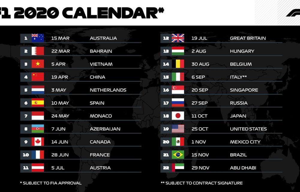 Formula 1 a adoptat calendarul sezonului 2020 cu un număr record de 22 de curse: echipele vor avea doar 6 zile de teste de iarnă - Poza 2