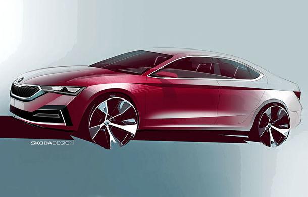 Primele schițe cu viitoarea generație Skoda Octavia: prezentarea noului model va avea loc în 11 noiembrie - Poza 1